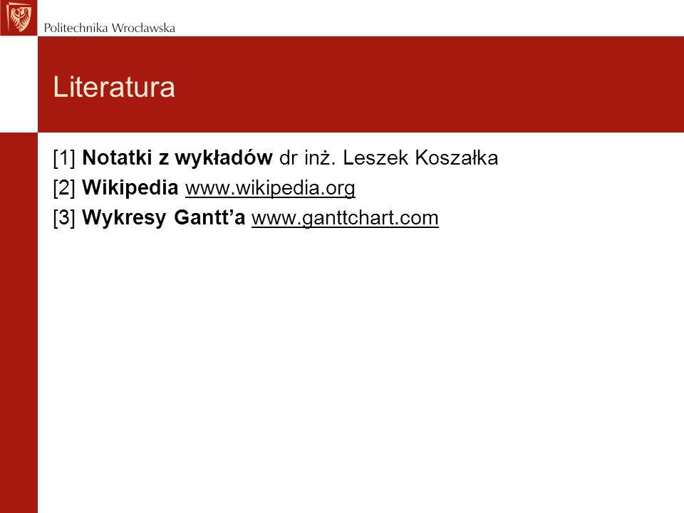 Literatura [1] Notatki z wykładów dr inż. Leszek Koszałka